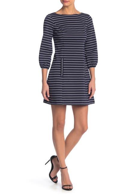 Image of Eliza J Puff Sleeve Striped Mini Dress
