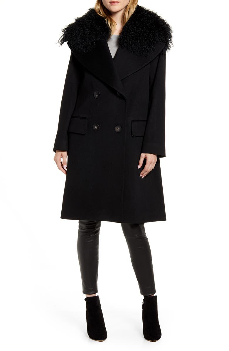 FLEURETTE Double Breasted Wool Coat with Genuine Lamb Fur Trim, Main, color, BLACK