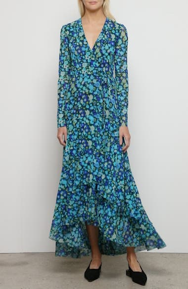 Floral Print Mesh Long Sleeve Maxi Wrap Dress, video thumbnail