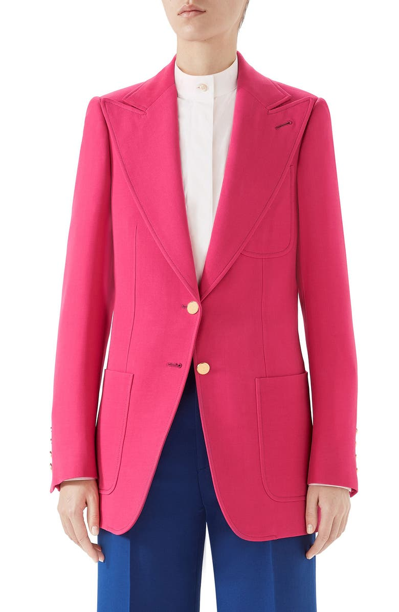 GUCCI Two-Button Wool & Silk Blazer, Main, color, DARK PINK YARROW