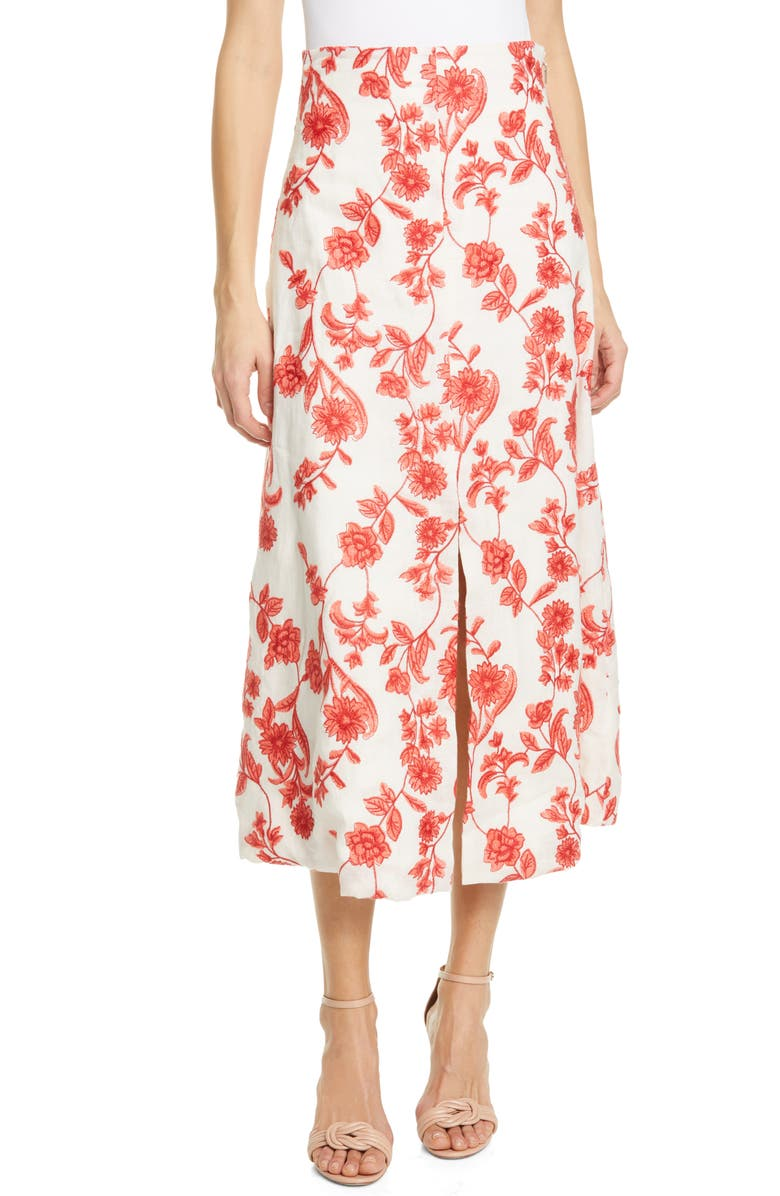 REBECCA TAYLOR Scarlet Embroidered Linen Midi Skirt, Main, color, 600