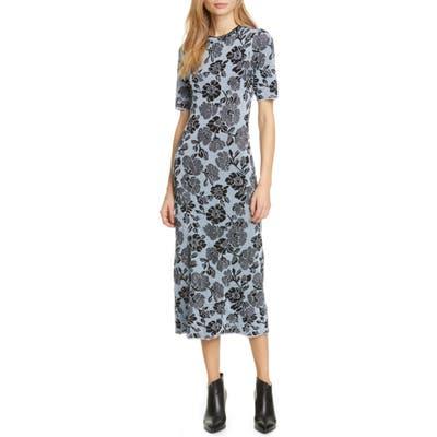 Rebecca Taylor Metallic Floral Jacquard Dress, Blue