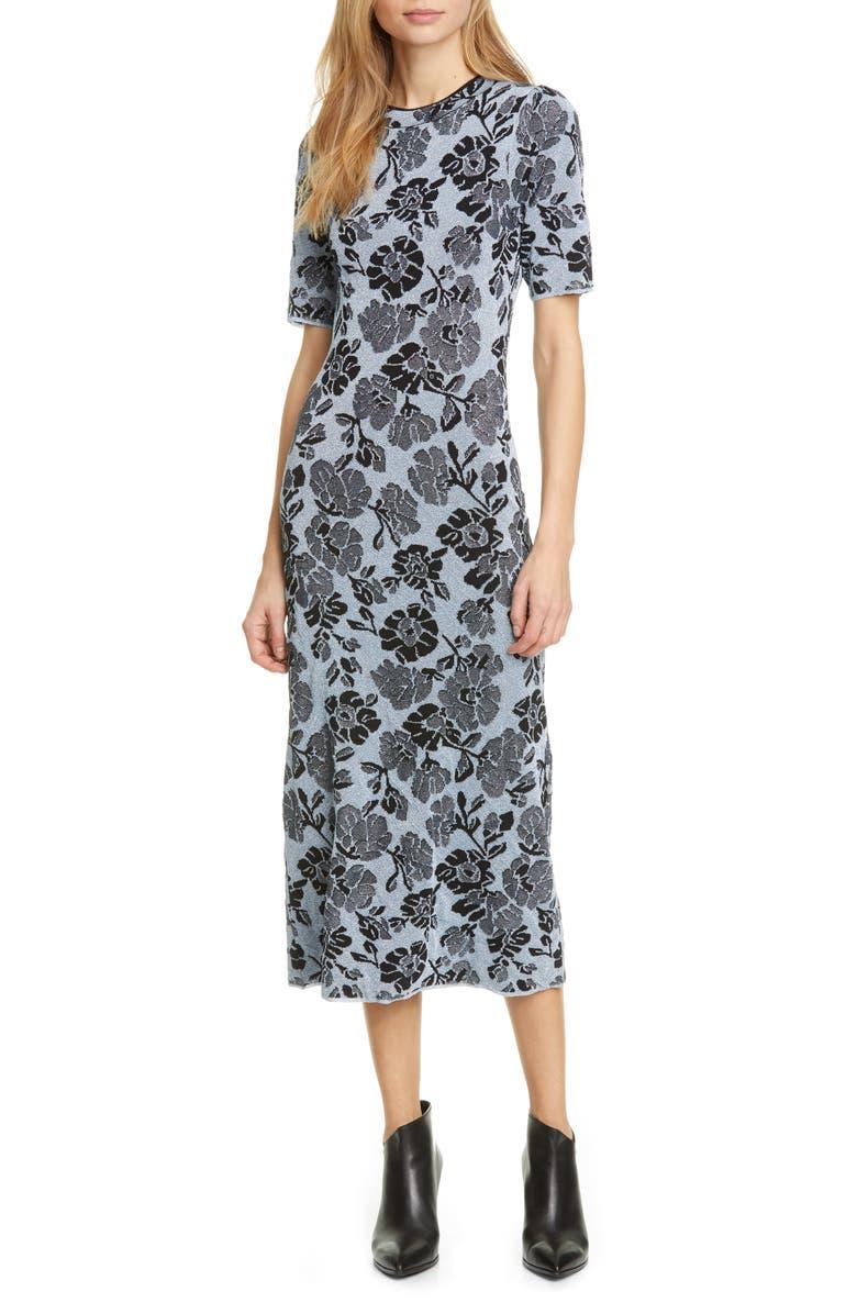 REBECCA TAYLOR Metallic Floral Jacquard Dress, Main, color, 400