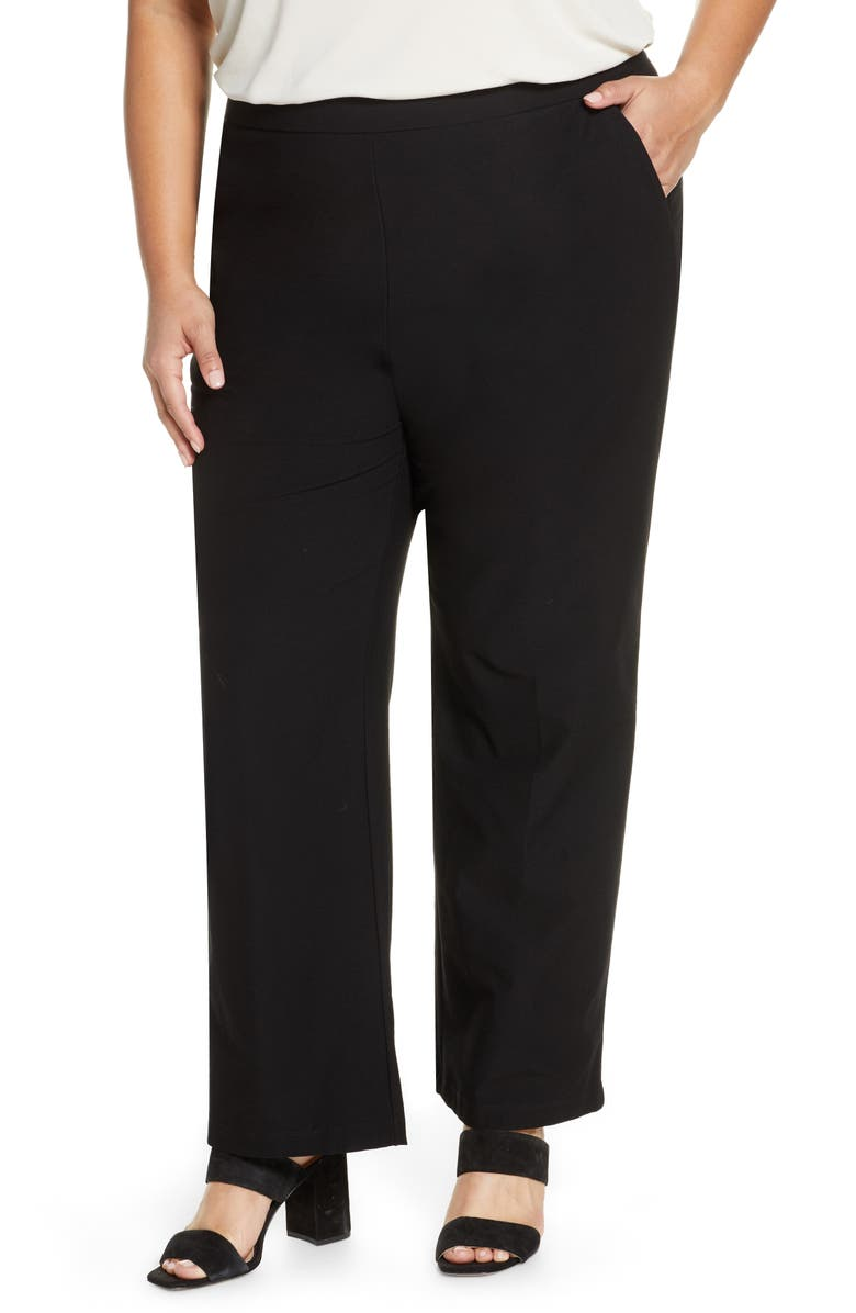 EILEEN FISHER Straight Yoke Knit Pants, Main, color, BLACK