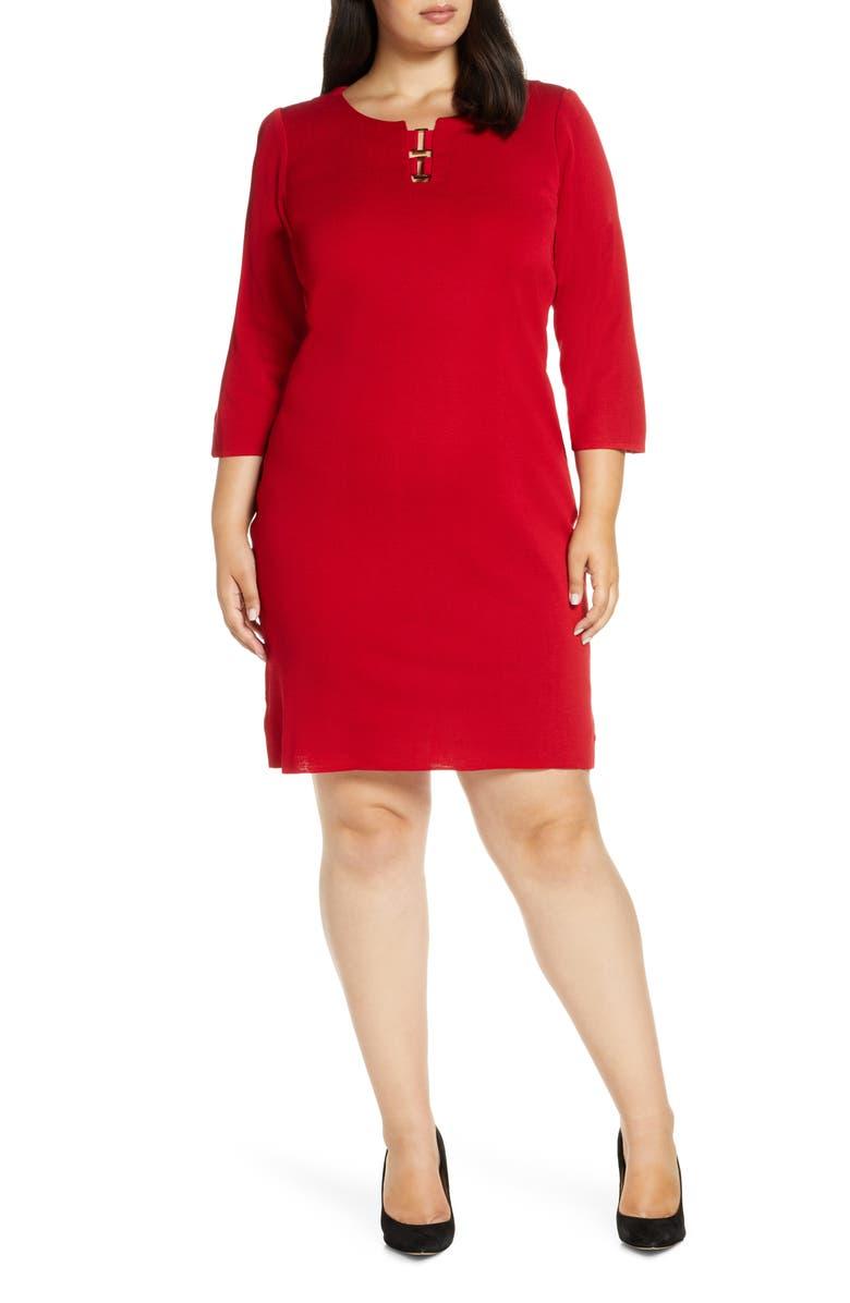MING WANG Hardware Detail Sweater Dress, Main, color, BONFIRE