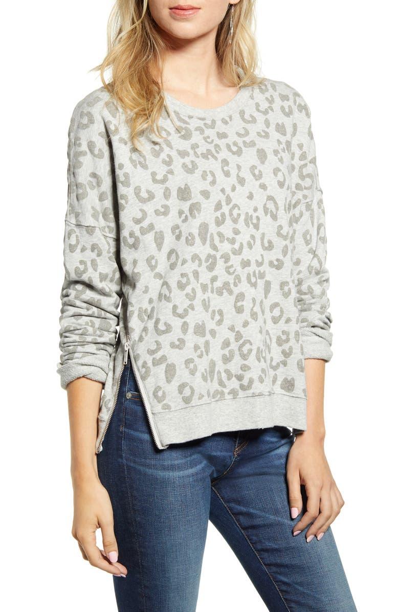 RAILS Marlo Leopard Print Side Zip Sweatshirt, Main, color, FLOCKED HEATHER GREY LEOPARD