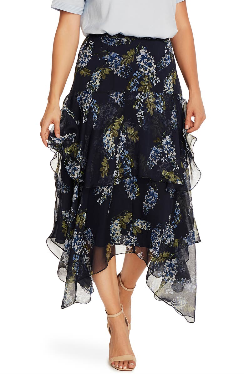 VINCE CAMUTO Weeping Willow Tiered Asymmetrical Skirt, Main, color, NIGHT NAVY