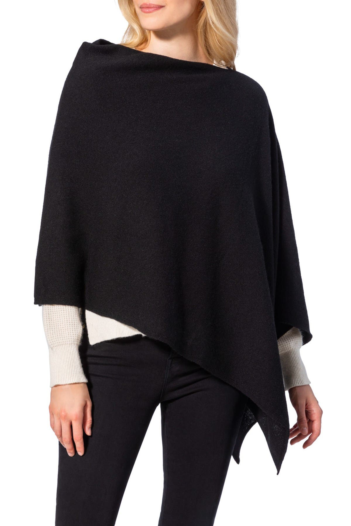 Image of AMICALE Cashmere Solid Knit Poncho