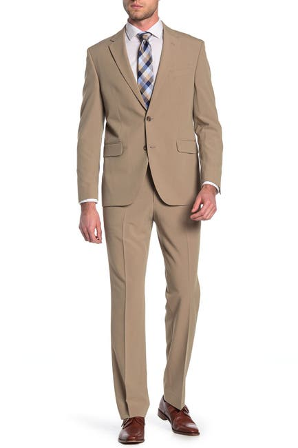 Image of Dockers Tan Solid Two Button Notch Lapel Suit