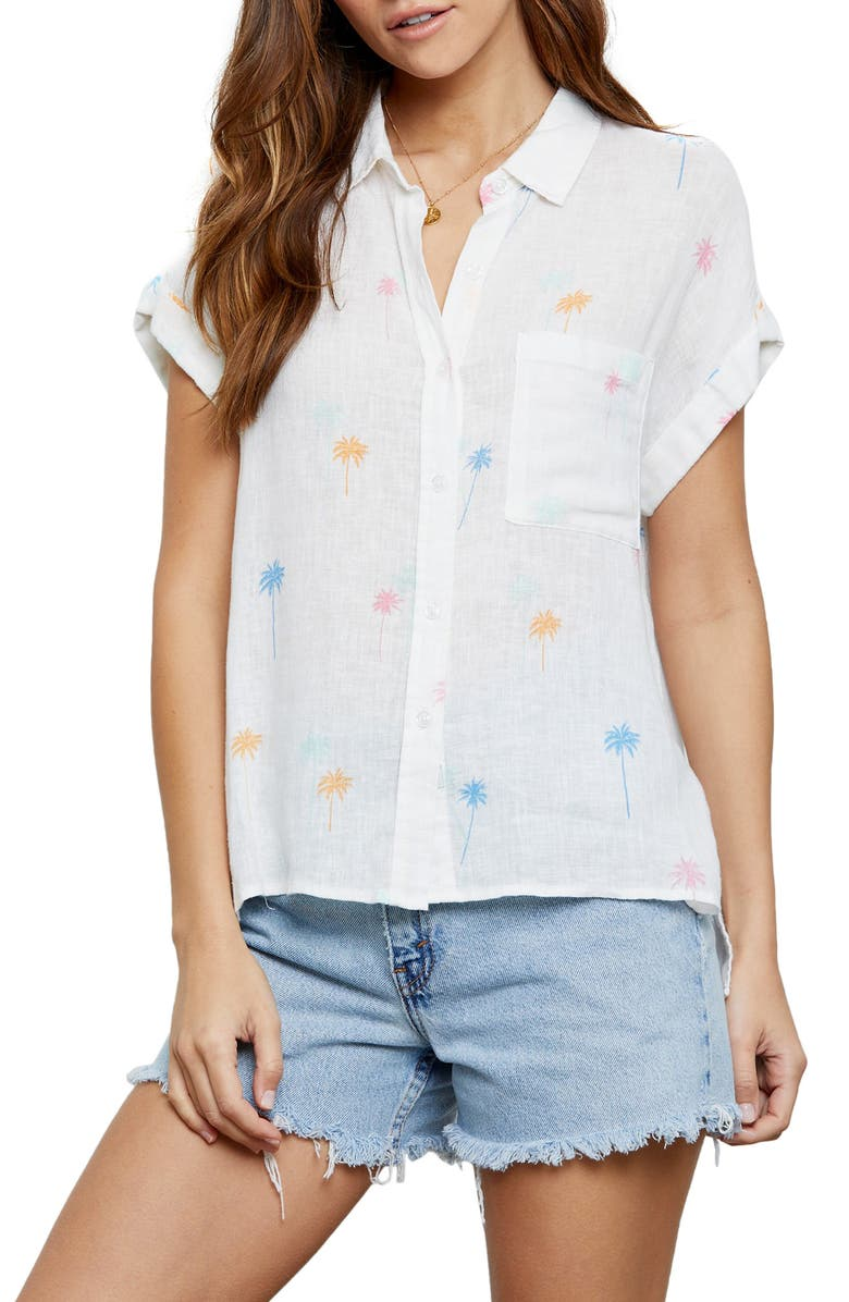 RAILS Whitney Print Shirt, Main, color, NEON PALMS