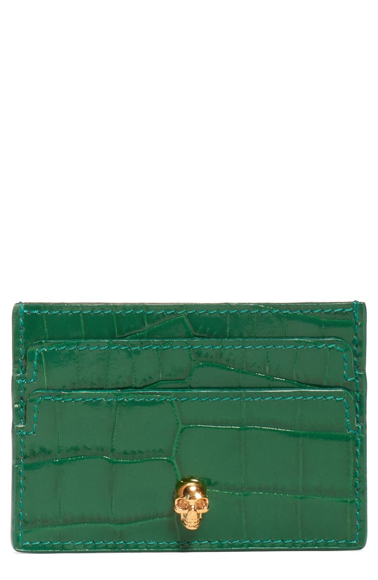 ALEXANDER MCQUEEN Croc Embossed Leather Card Holder, Main, color, 308