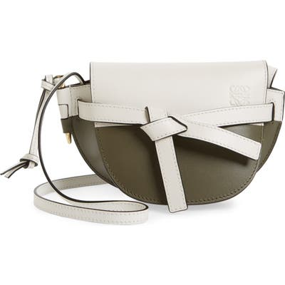 Loewe Mini Gate Colorblock Leather Crossbody Bag - White