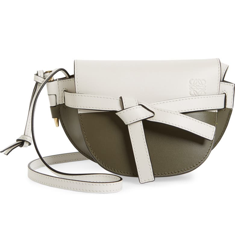 LOEWE Mini Gate Colorblock Leather Crossbody Bag, Main, color, SOFT WHITE/ KHAKI GREEN