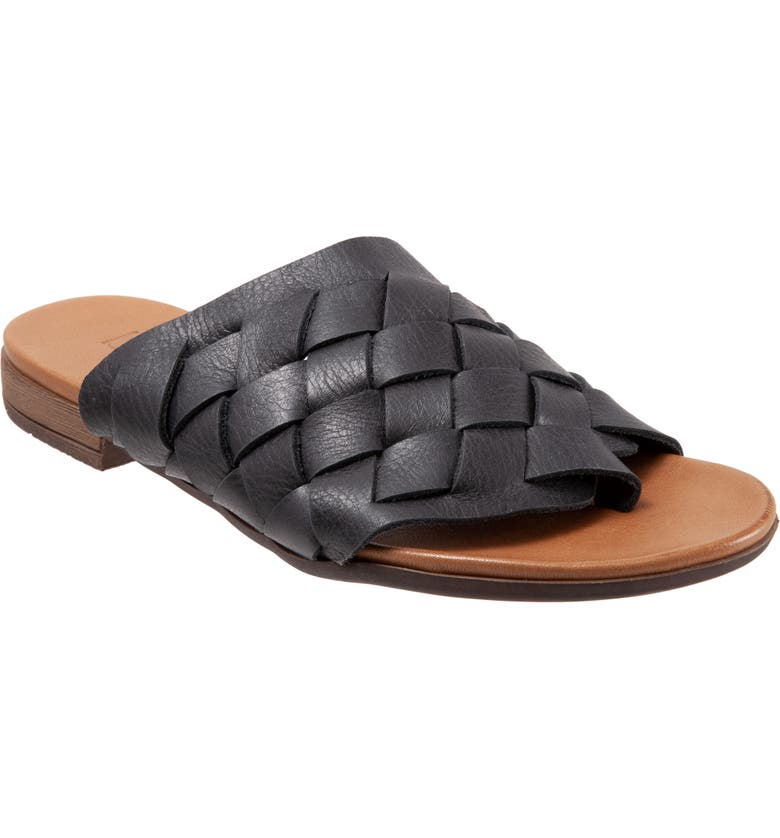 BUENO Tory Woven Slide Sandal, Main, color, BLACK LEATHER