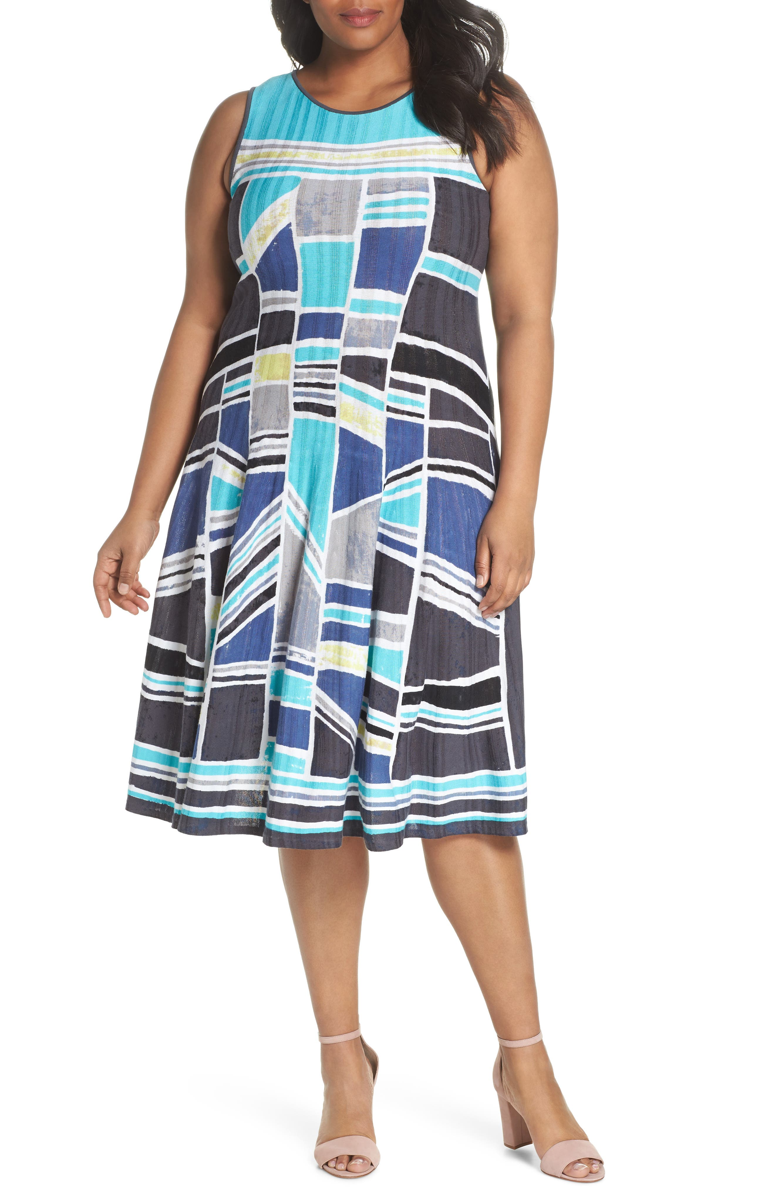 Plus Size Nic+Zoe Going Places Knit Twirl Dress, Blue