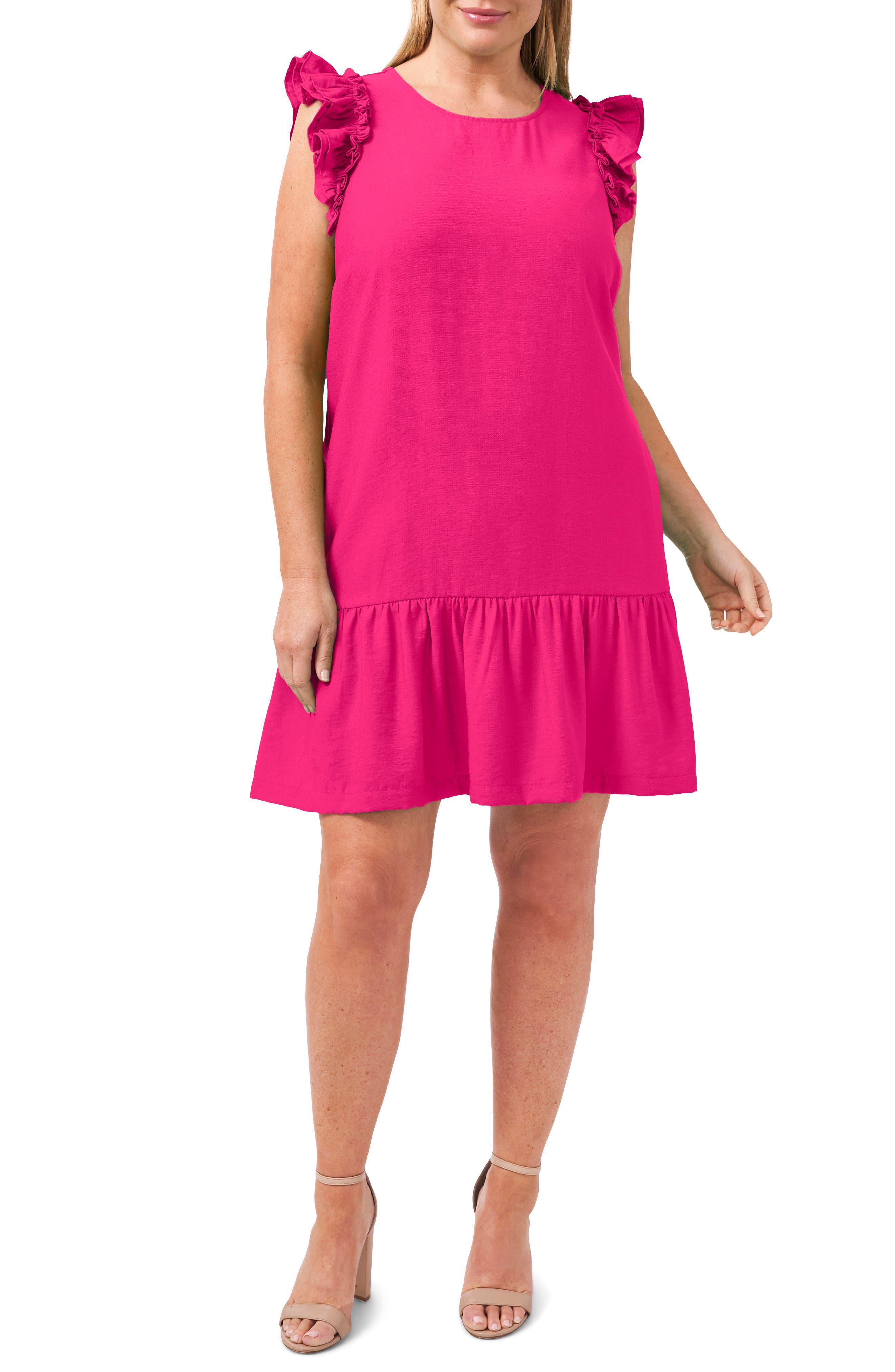 Ruffle Trim Shift Dress