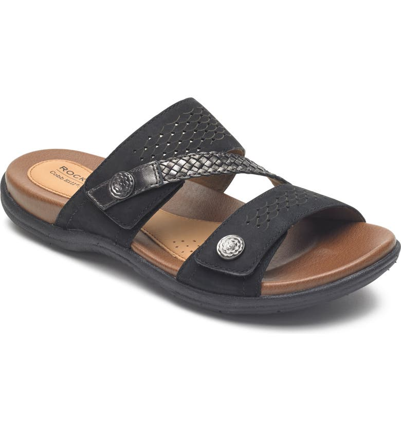 ROCKPORT COBB HILL Rubey Asymmetrical Slide Sandal, Main, color, BLACK LEATHER