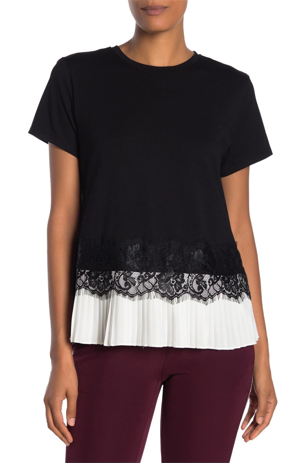 Image of Laundry By Shelli Segal Pleated Lace Trim T-Shirt