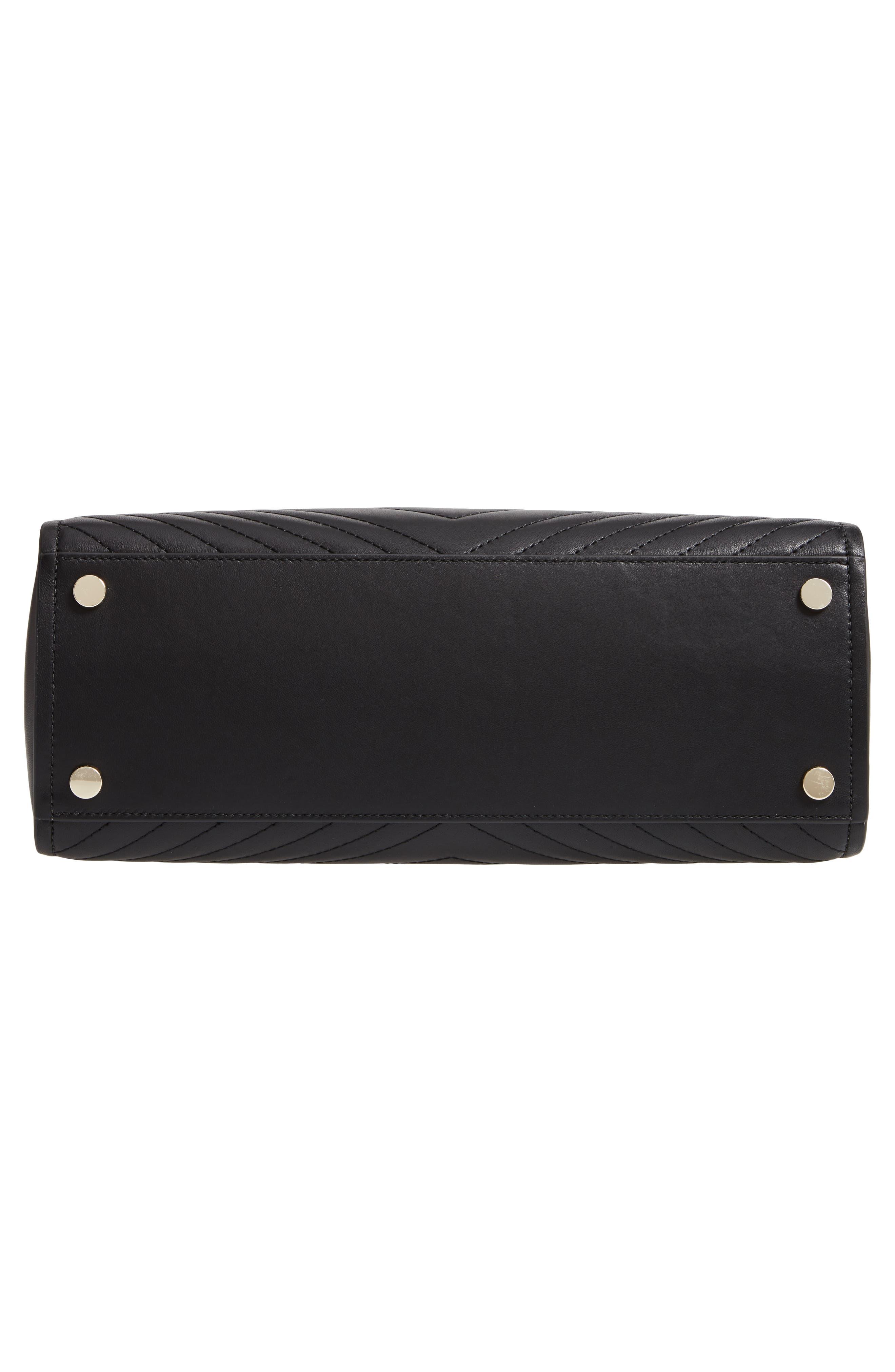 ,                             large amelia leather tote,                             Alternate thumbnail 7, color,                             BLACK