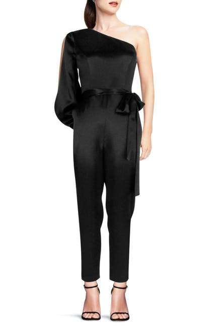 Image of Aidan by Aidan Mattox Satin Waist Tie Jumpsuit