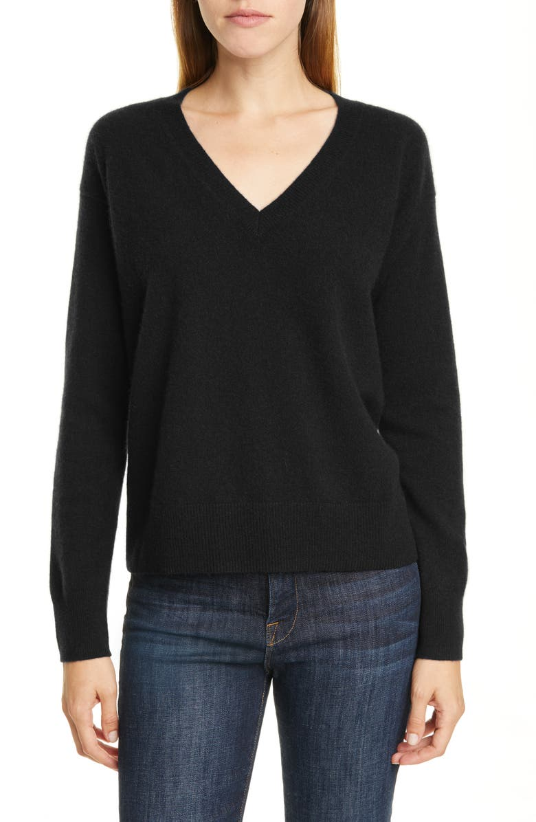 NORDSTROM SIGNATURE V-Neck Cashmere Pullover, Main, color, 001