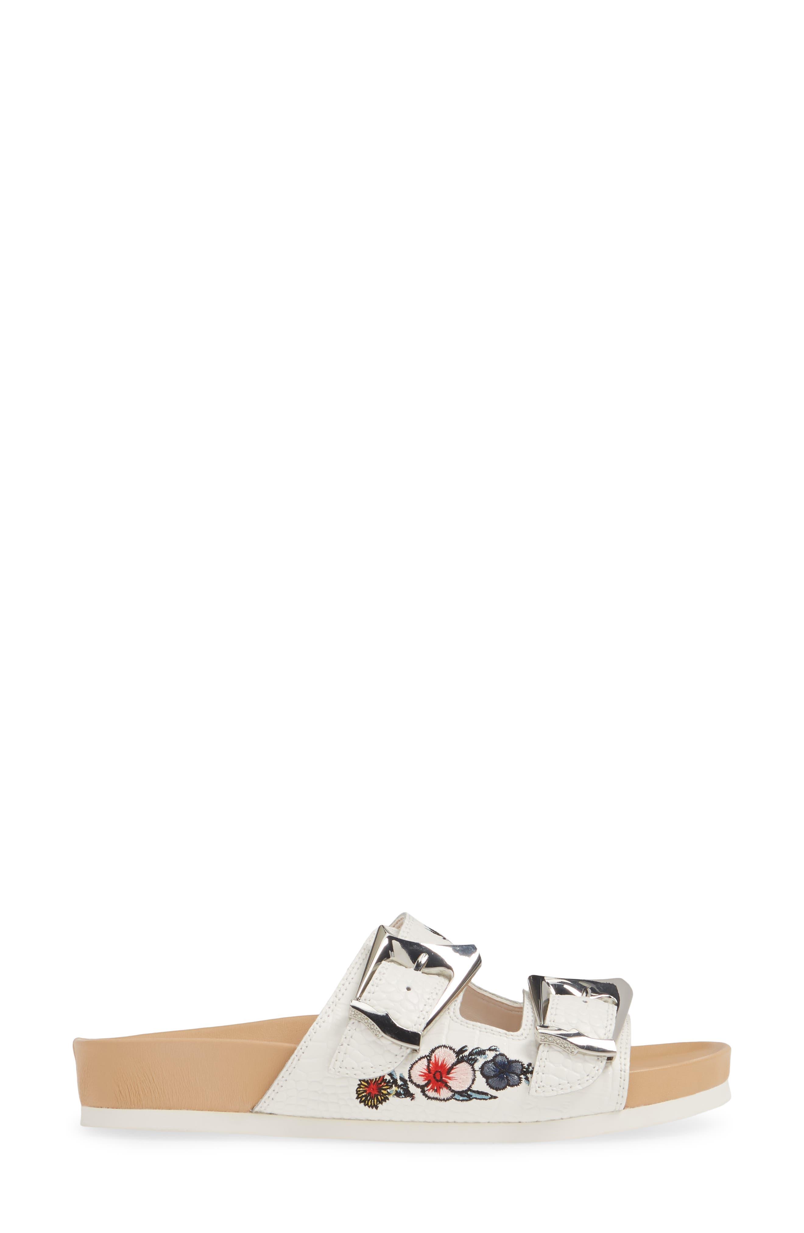 ,                             Baylie Embroidered Slide Sandal,                             Alternate thumbnail 3, color,                             WHITE