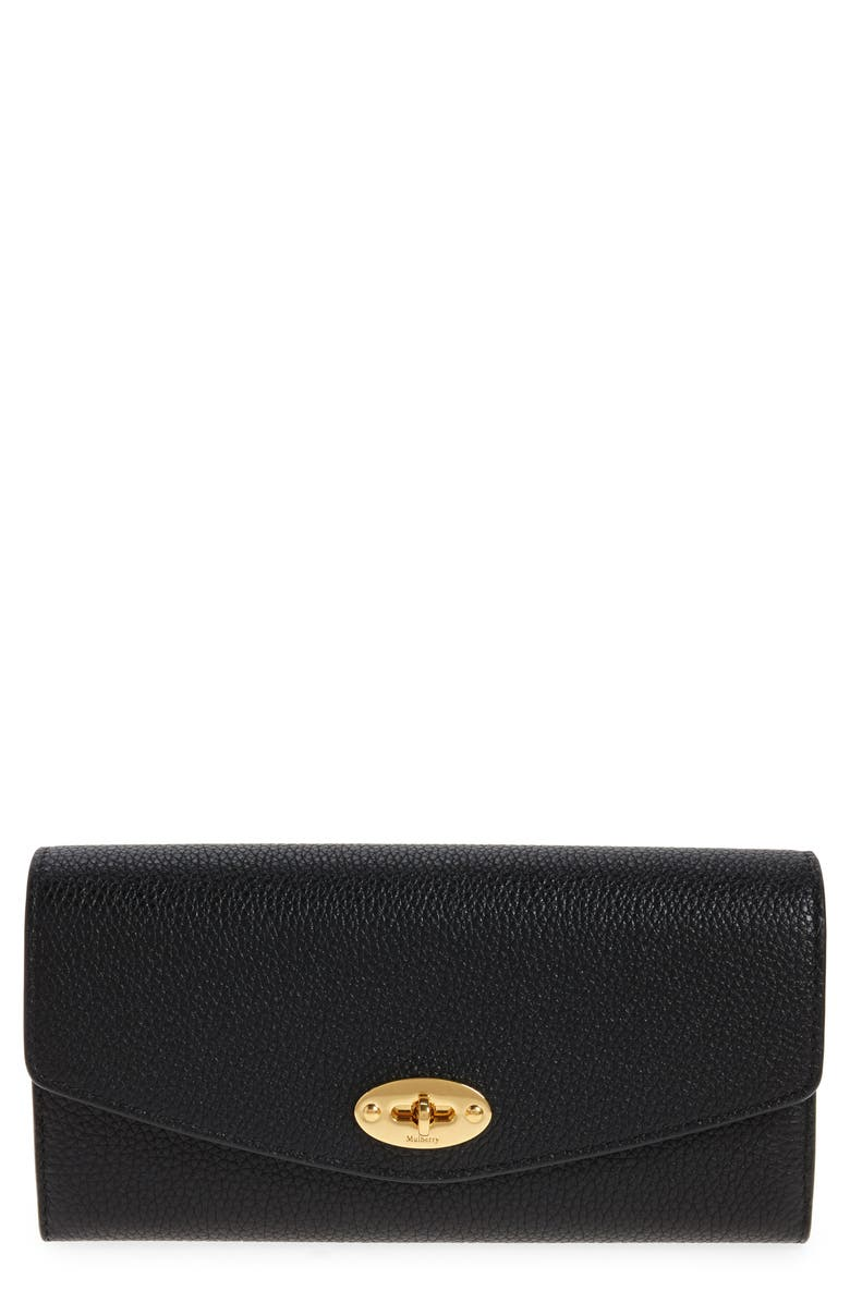 MULBERRY Darley Continental Leather Wallet, Main, color, BLACK