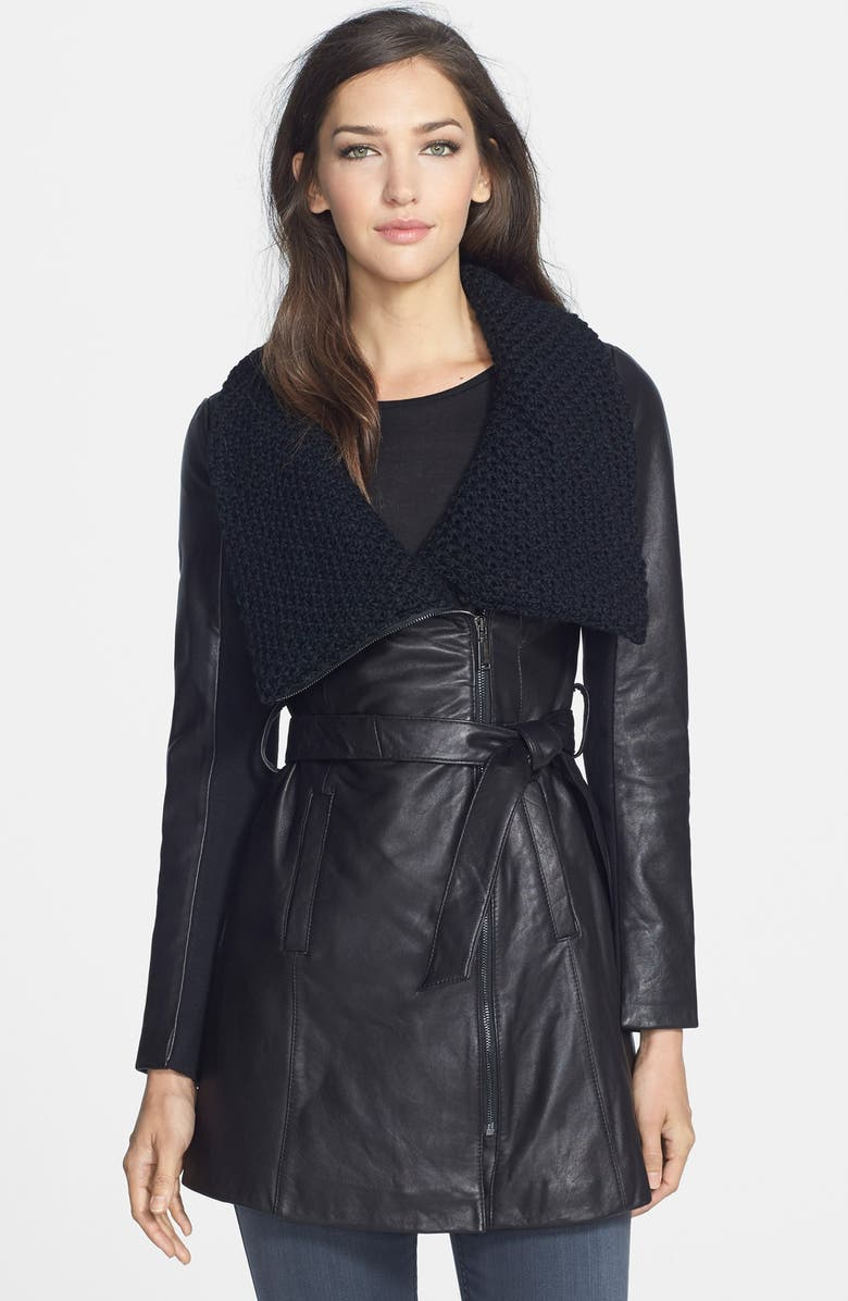 ELIE TAHARI 'Alexandra' Knit Collar Belted Leather Coat, Main, color, 001