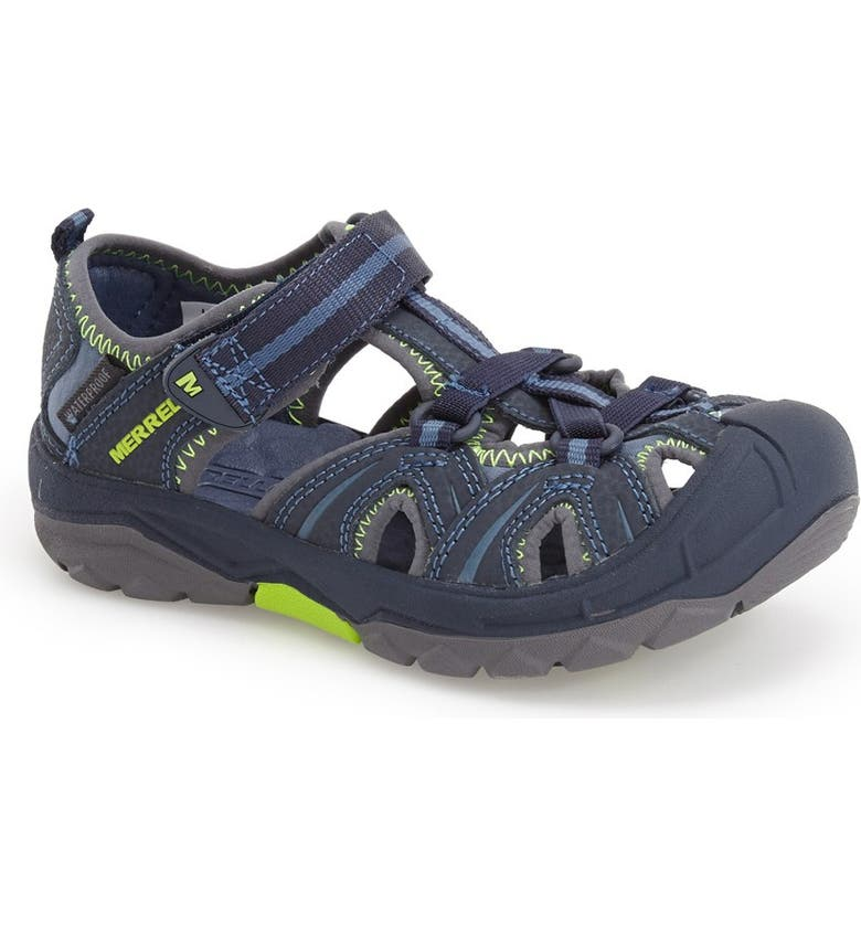 MERRELL Hydro Water Sandal, Main, color, NAVY/ GREEN