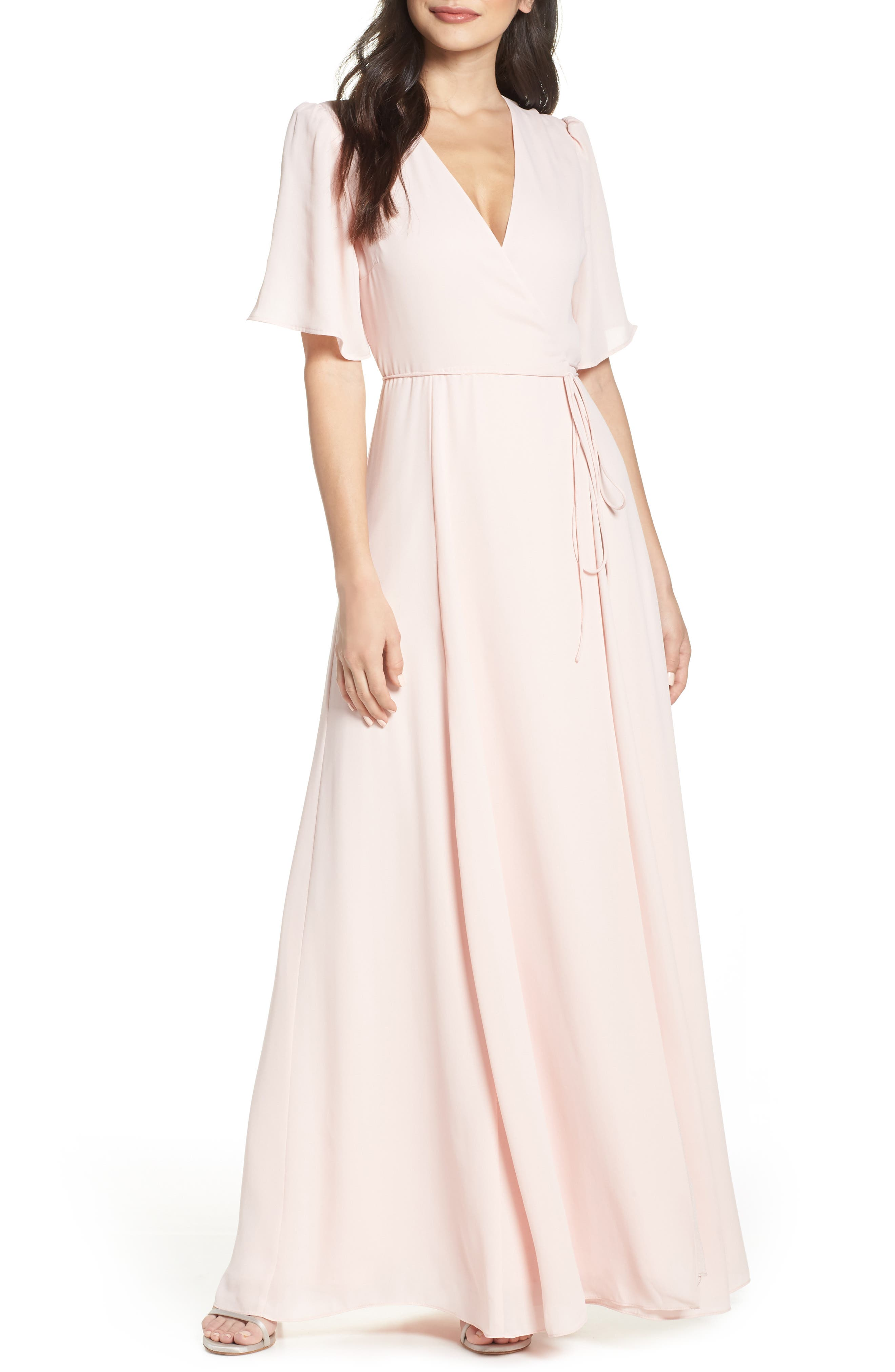 Wayf The Aurelia Short Sleeve Wrap Evening Dress, Pink