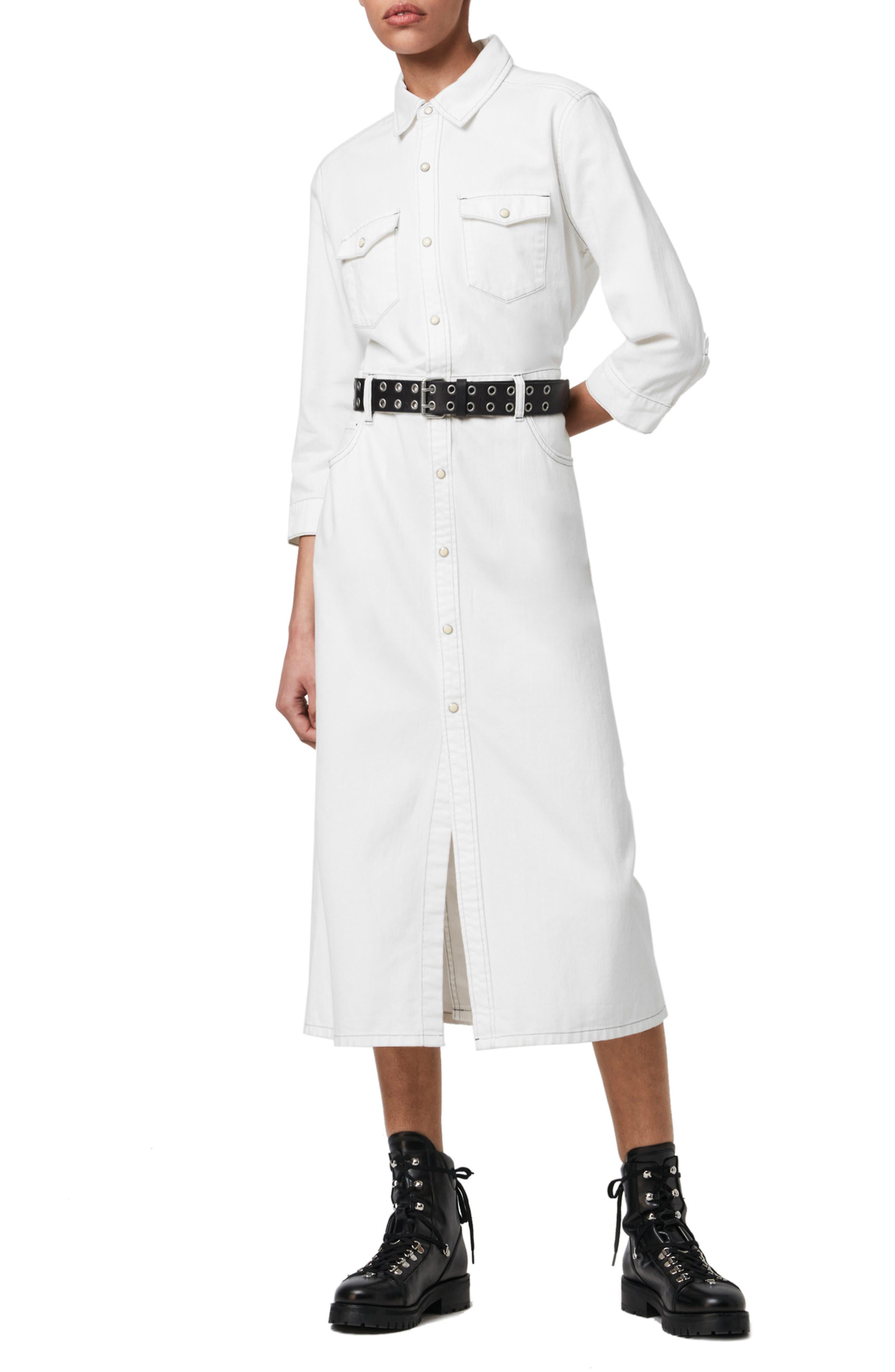 ALLSAINTS Polly Long Sleeve Denim Midi Shirtdress | Nordstrom