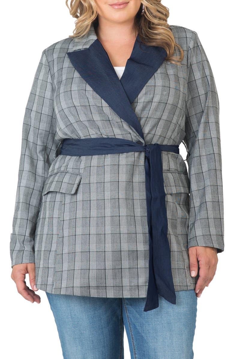 STANDARDS & PRACTICES Gina Denim Trim Plaid Blazer, Main, color, BLUE PLAID
