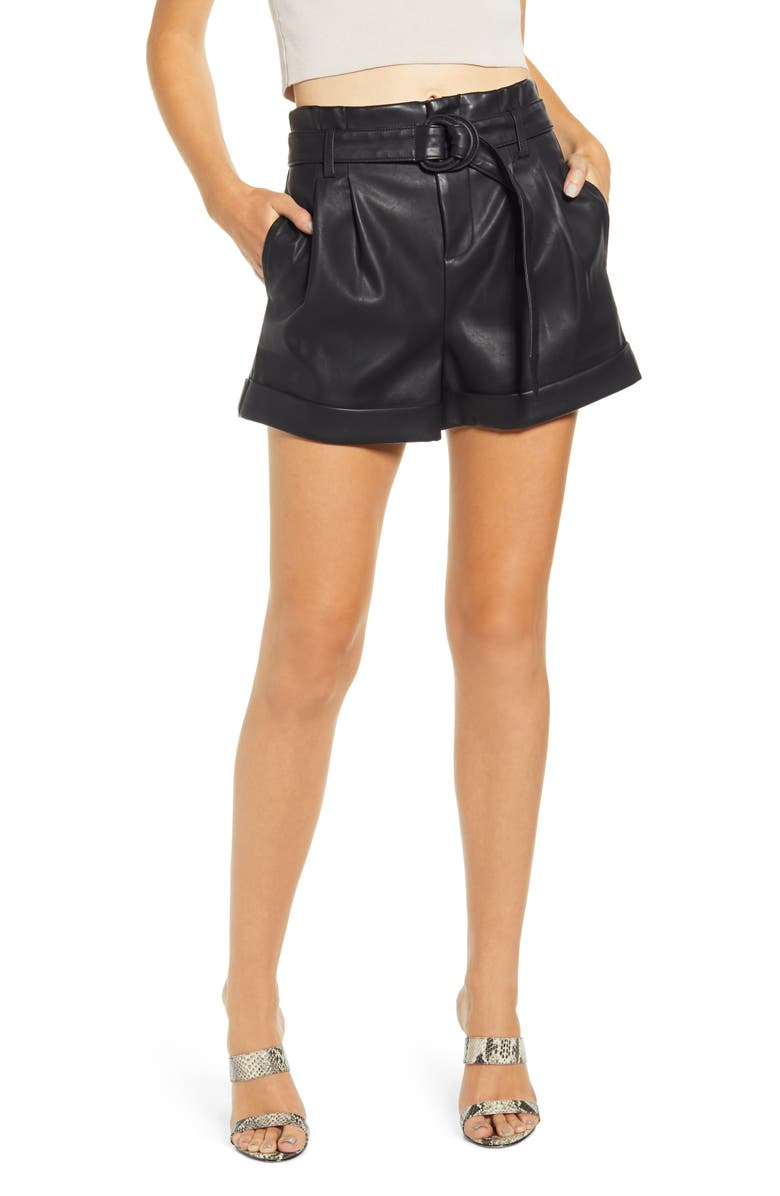 BLANKNYC Sinister Faux Leather Shorts, Main, color, 001