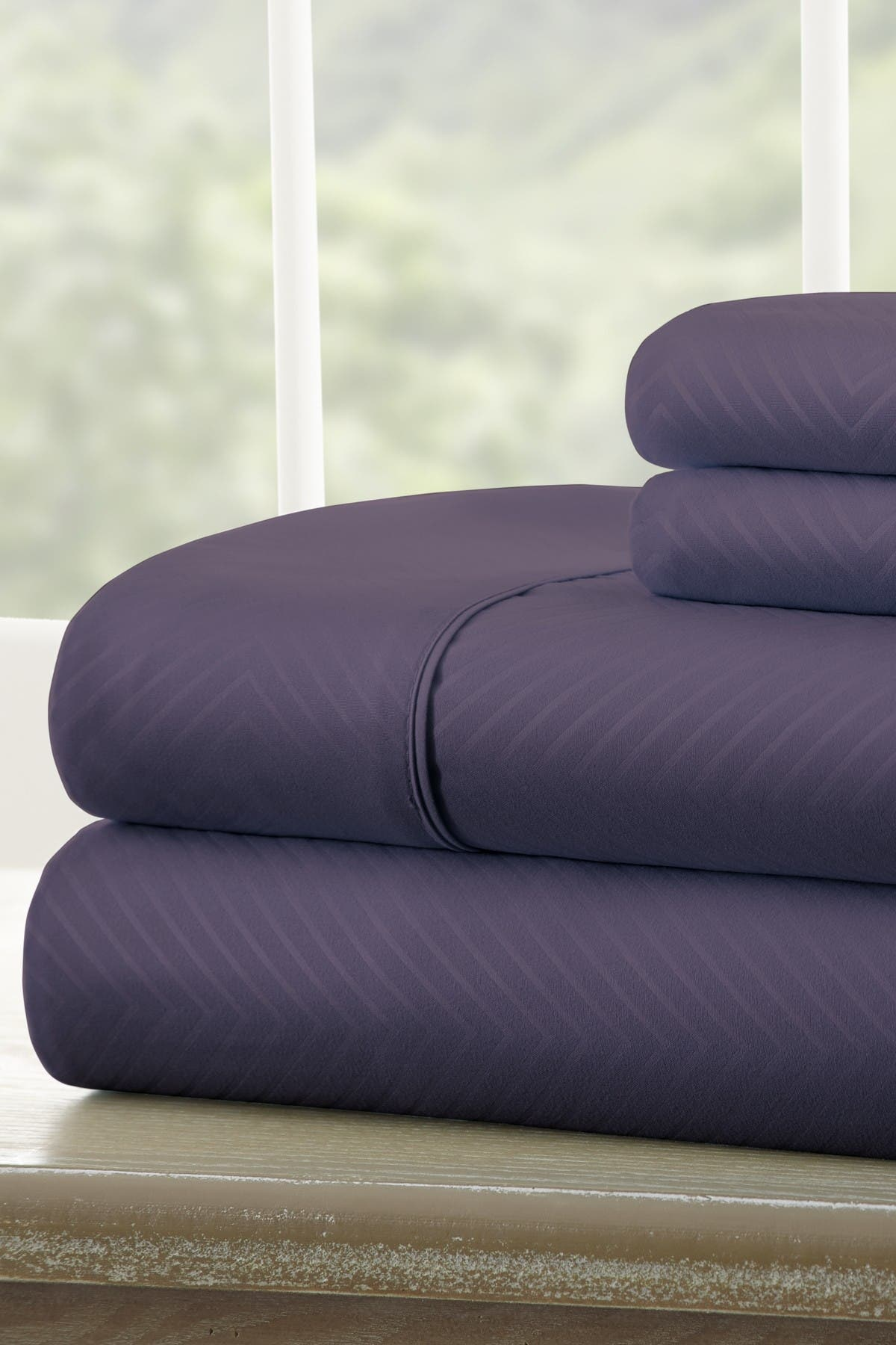 Image of IENJOY HOME Twin Hotel Collection Premium Ultra Soft 4-Piece Chevron Bed Sheet Set - Purple
