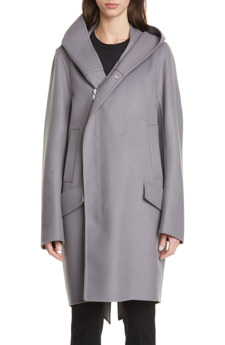 RICK OWENS Slab Hooded Long Wool & Nylon Coat, Main, color, BLUE