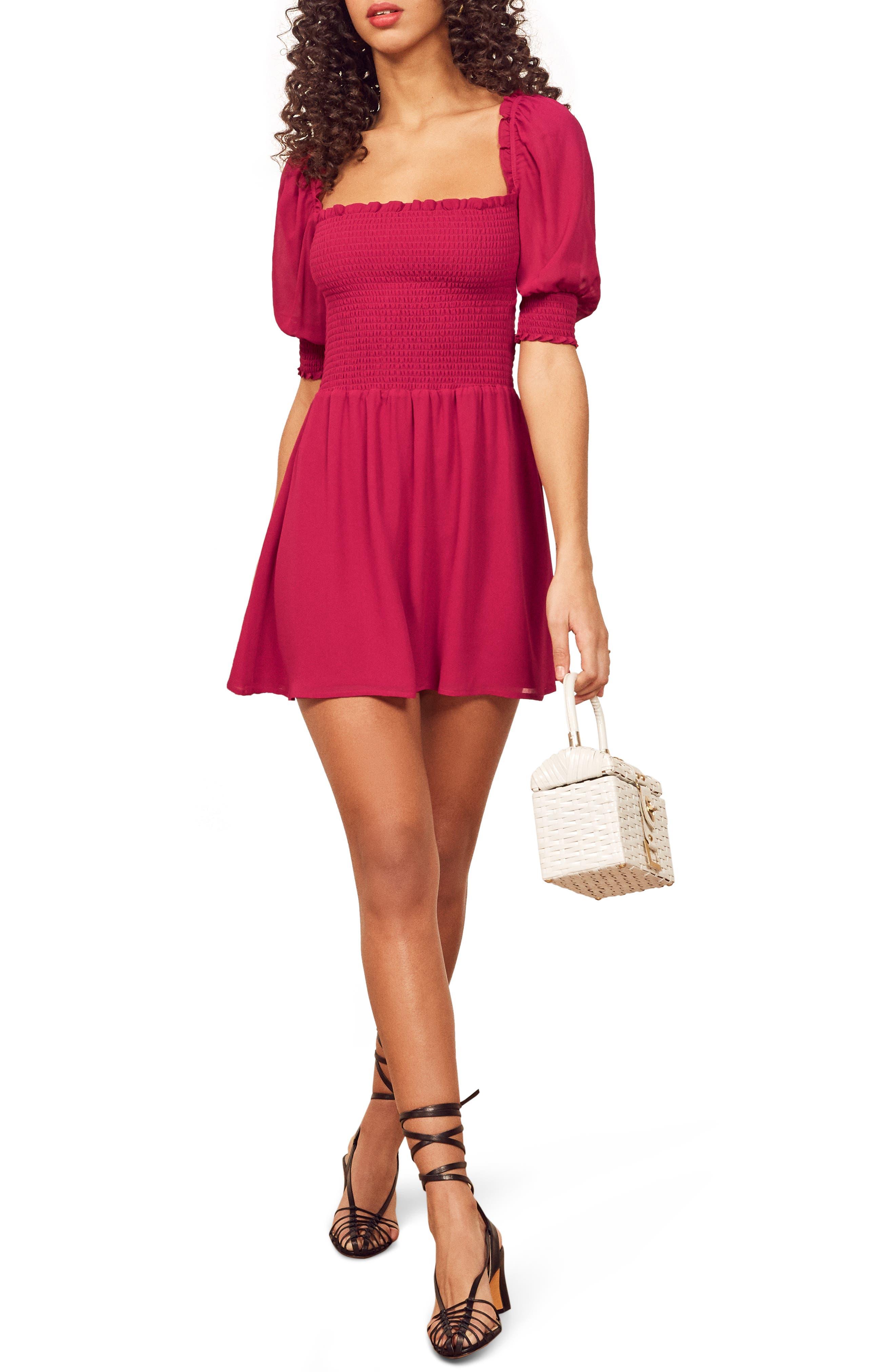 Reformation Elle Smocked Minidress, Pink