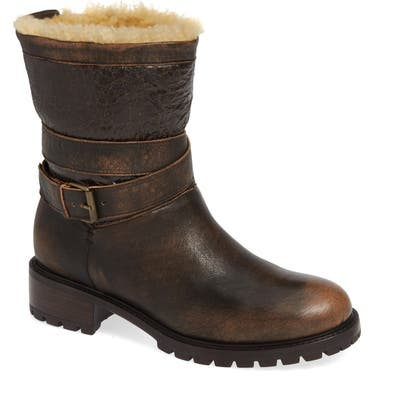 Ross & Snow Emilina Genuine Shearling Lined Weatherproof Bootie, Brown