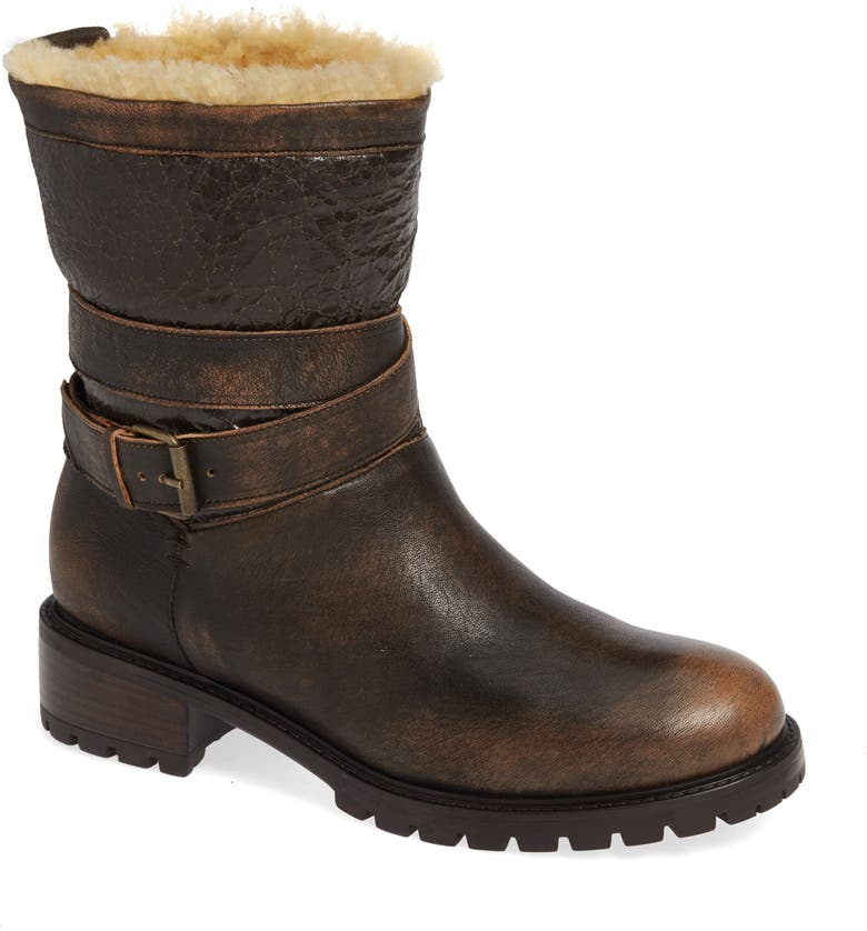 ROSS & SNOW Emilina Genuine Shearling Lined Waterproof Bootie, Main, color, BOMBER BROWN LEATHER
