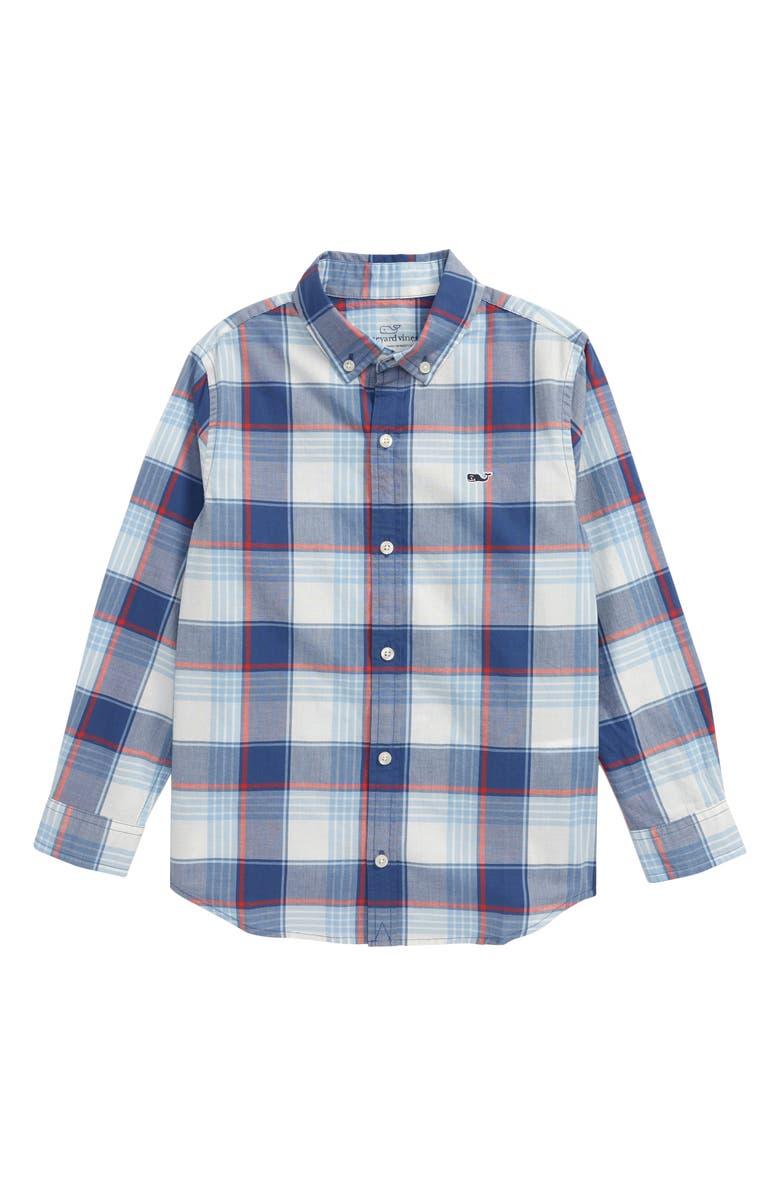 VINEYARD VINES Lagoon Plaid Button-Up Shirt, Main, color, MOONSHINE