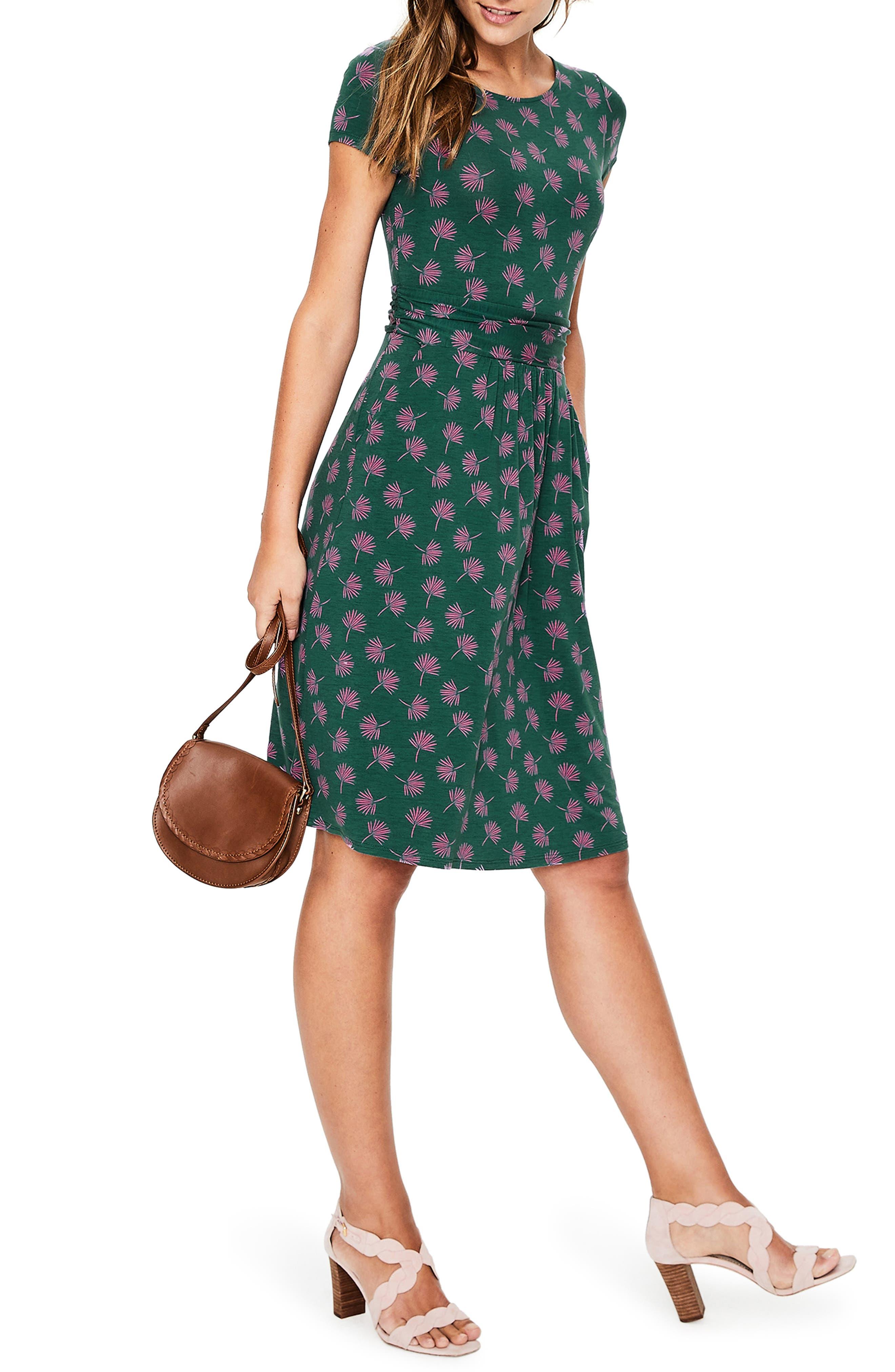 Boden Amelie Palm Print Jersey Fit & Flare Dress (Regular & Petite)