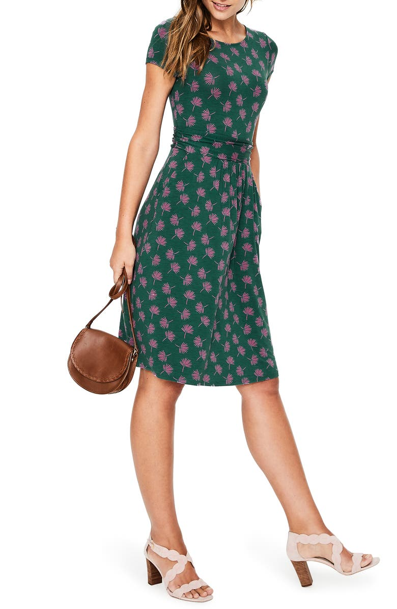 BODEN Amelie Palm Print Jersey Fit & Flare Dress, Main, color, WOODLAND GREEN HOLIDAY PALM