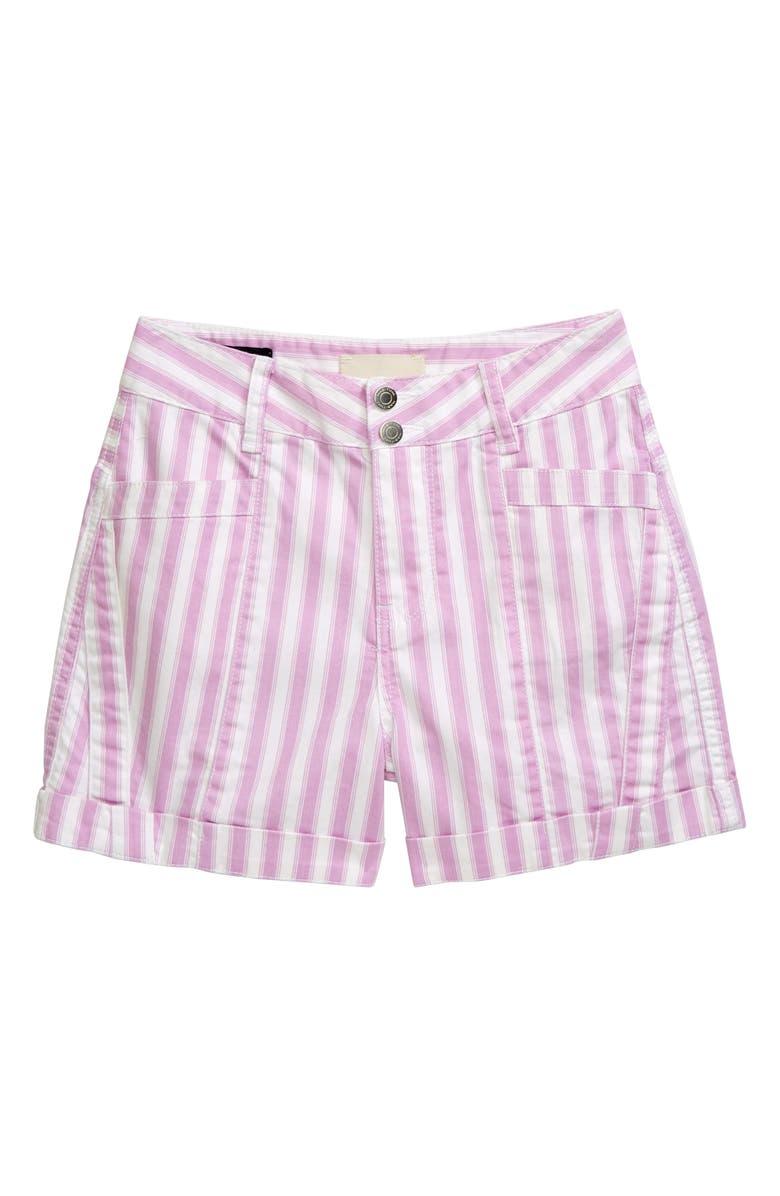 HABITUAL GIRL Stripe Multiseam Shorts, Main, color, LAVENDER