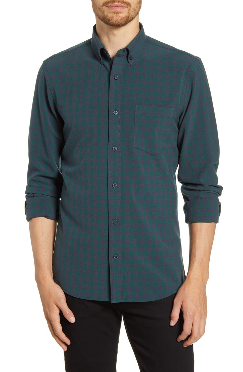 NORDSTROM MEN'S SHOP Trim Fit Check Button-Down Shirt, Main, color, GREEN NAVY TREK CHECK