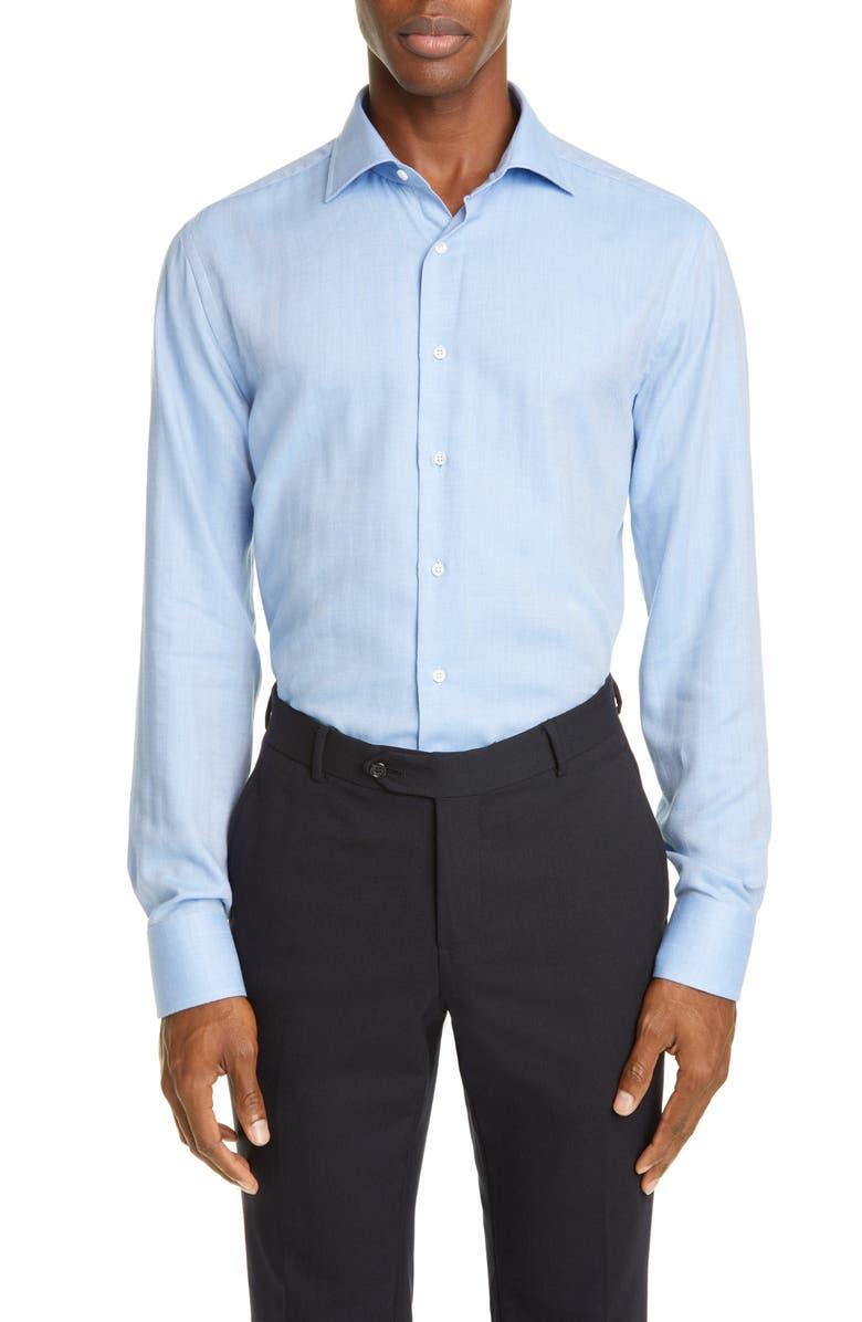 CANALI Regular Fit Herringbone Cotton & Cashmere Dress Shirt, Main, color, BLUE