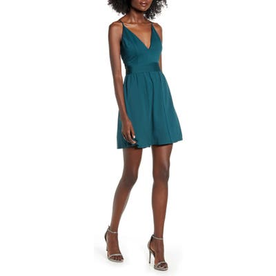 Love, Nickie Lew Jewel Back Overlay Minidress, Blue