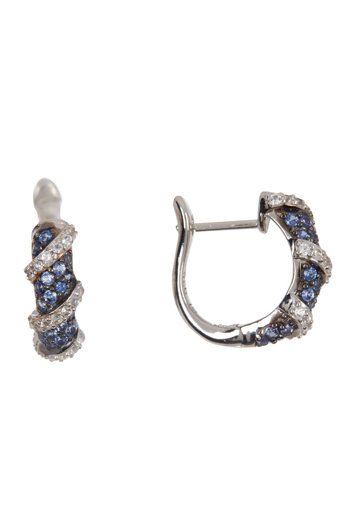 Image of Suzy Levian Sterling Silver Sapphire Huggie Earrings