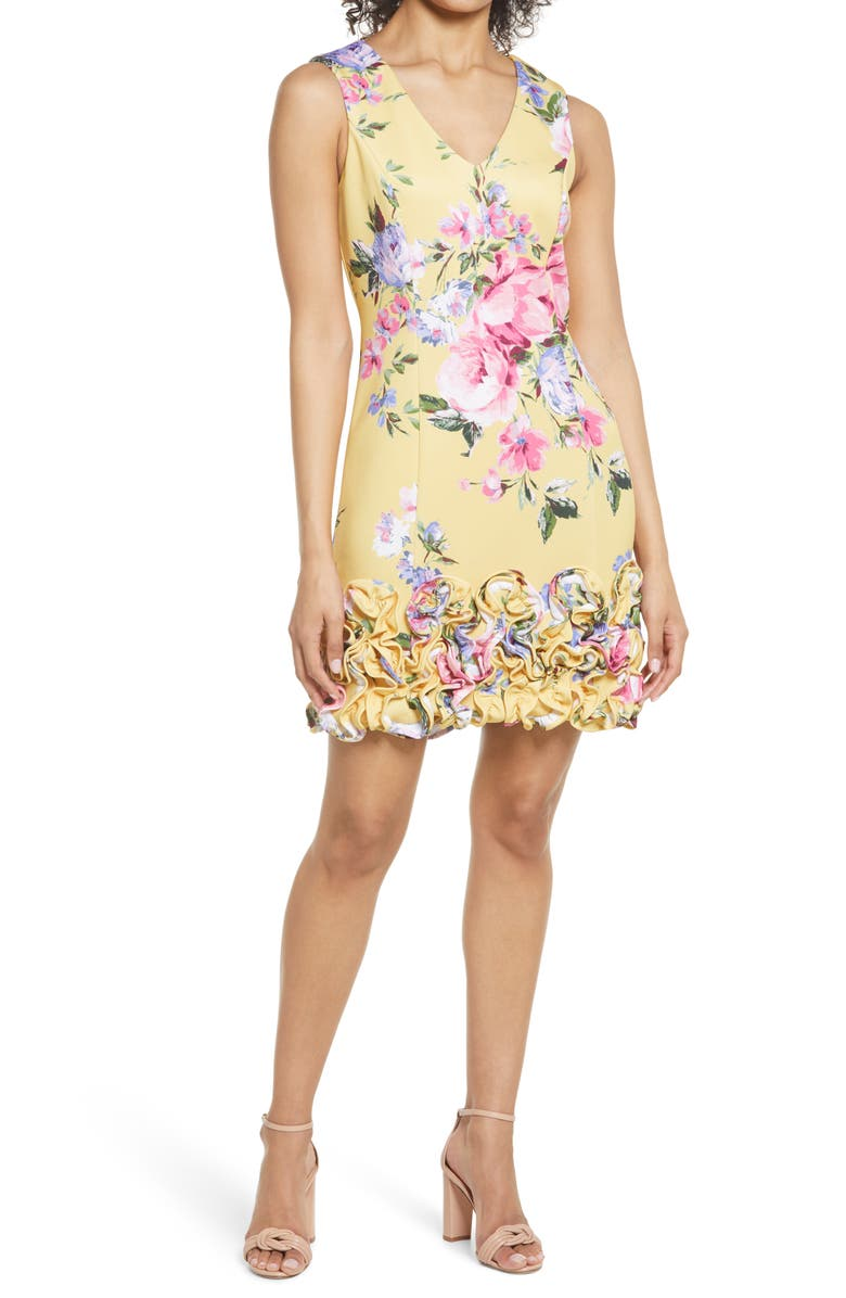 DONNA RICCO Floral Ruffle Hem Sleeveless Scuba Sheath Dress, Main, color, YELLOW MULTI