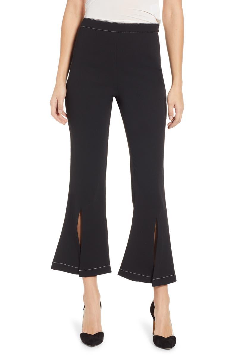 ENDLESS ROSE Contrast Stitch Crop Pants, Main, color, BLACK