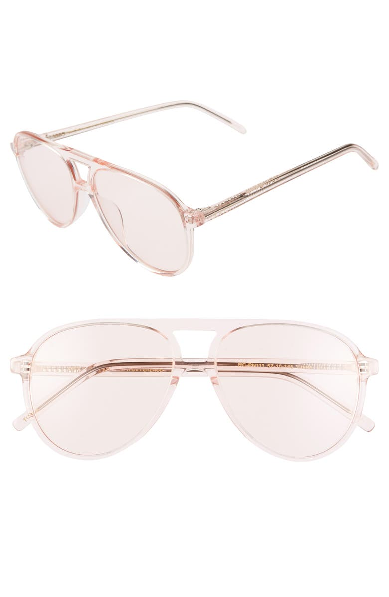DIFF x Jonathan Van Ness Tosca 57mm Aviator Sunglasses, Main, color, ROSE CRYSTAL/ PINK