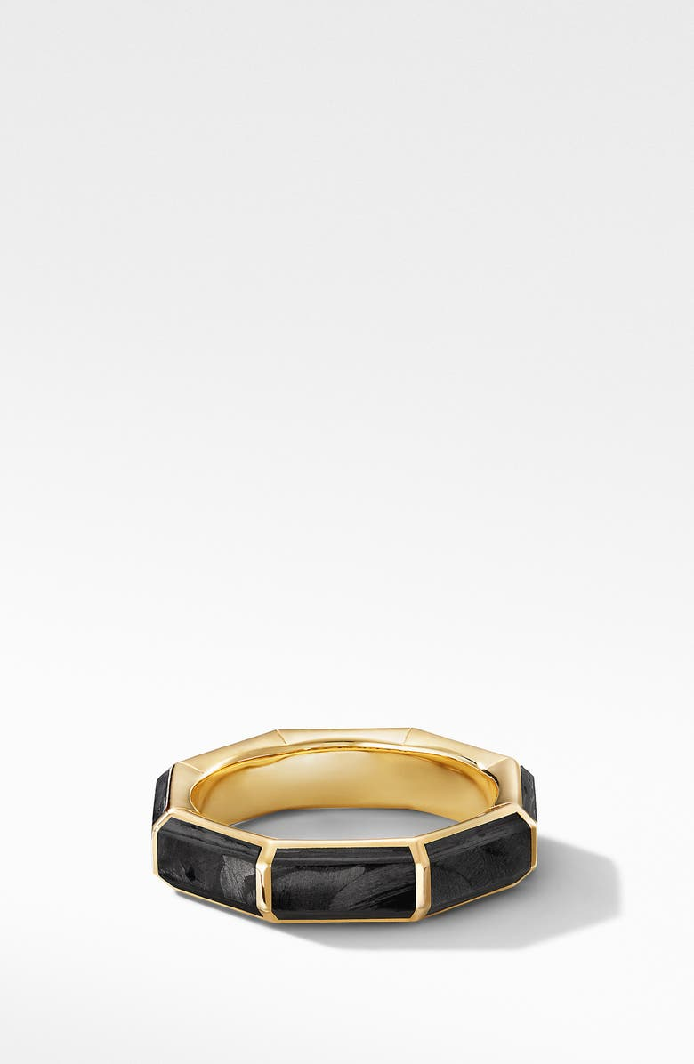 David Yurman Faceted 18K Yellow Gold Band Ring With Forged Carbon